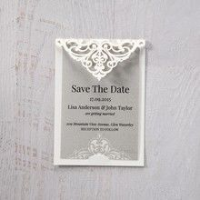 Silver/Gray Jeweled White Lasercut Pocket - Save the Date - Wedding Stationery - 96