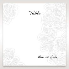 White Laser Cut Flower Frame - Table Number Cards - Wedding Stationery - 53