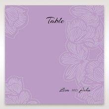 Purple Laser Cut Flower Frame III - Table Number Cards - Wedding Stationery - 15