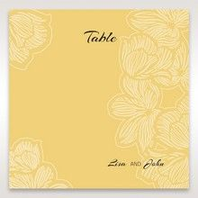 Yellow/Gold Laser Cut Flower Frame III - Table Number Cards - Wedding Stationery - 85