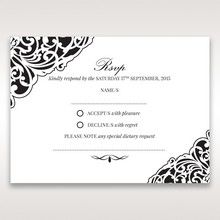 White Jeweled Romance Black Laser Cut - RSVP Cards - Wedding Stationery - 21
