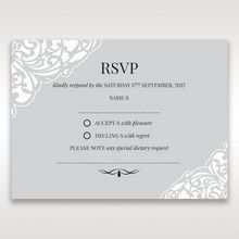 Silver/Gray Jeweled White Lasercut Pocket - RSVP Cards - Wedding Stationery - 24