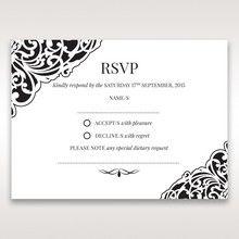 White Jeweled Romance Black Lasercut Pocket - RSVP Cards - Wedding Stationery - 29