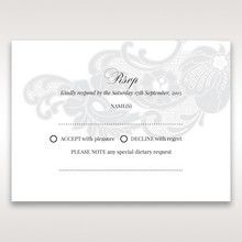 White Black Laser Cut Wrap with Ribbon - RSVP Cards - Wedding Stationery - 57