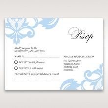 Blue Classy Laser Cut with White Bow - RSVP Cards - Wedding Stationery - 63
