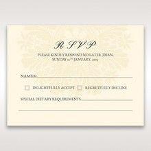 Brown Embossed Swirls Hard Layer - RSVP Cards - Wedding Stationery - 67