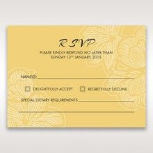 Yellow/Gold Laser Cut Flower Frame III - RSVP Cards - Wedding Stationery - 87