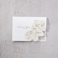 White Laser Cut Floral Lace - Thank You Cards - Wedding Stationery - 32