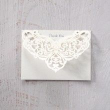 Silver/Gray Jeweled Romance Laser Cut - Thank You Cards - Wedding Stationery - 39