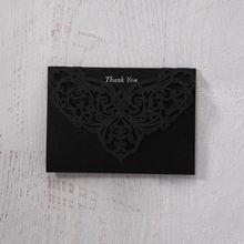 White Jeweled Romance Black Lasercut Pocket - Thank You Cards - Wedding Stationery - 53