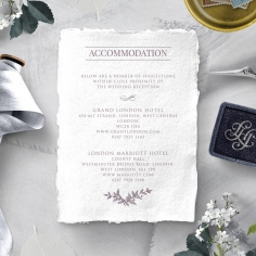 Ace of Spades with Deckled Edges wedding stationery accommodation card design
