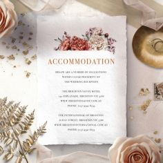 Blossoming Love accommodation wedding card design