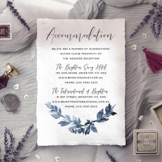 Blue Forest accommodation enclosure stationery card design