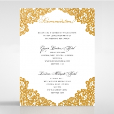 Charming Lace Frame with Foil wedding accommodation invitation