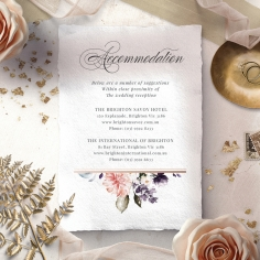 Enchanting Florals accommodation wedding card