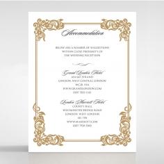 Golden Divine Damask wedding accommodation invite
