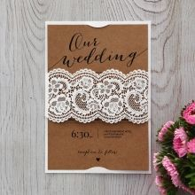 Country Lace Wedding invitation in Brown PWI115087