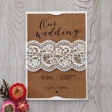Country Lace With Twine Wedding invitation in Brown PWI115088