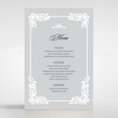 Black Divine Damask wedding venue menu card design