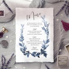 Blue Forest reception menu card stationery