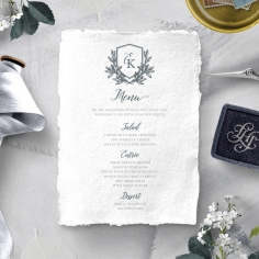 Castle Wedding reception table menu card