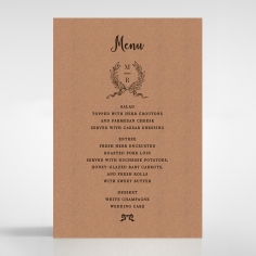 Chic Country Passion wedding menu card design