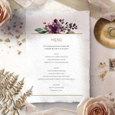 Contemporary Love wedding venue table menu card stationery design