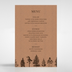 Delightful Forest Romance wedding menu card stationery design