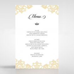 Golden Baroque Pocket wedding reception menu card design