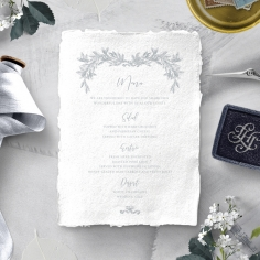 Leafy Wreath reception table menu card design