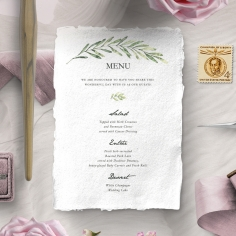 Olive Leaves wedding menu card stationery item