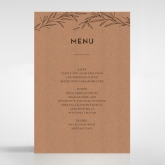 Rustic Oriental wedding menu card