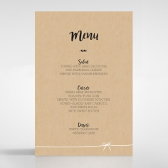 Sweetly Rustic wedding reception table menu card stationery