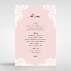White Lace Drop table menu card stationery