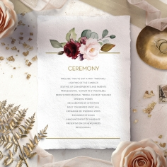Contemporary Love wedding stationery order of service invite card