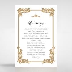 Golden Divine Damask order of service invitation card