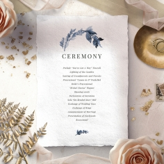 Indigo Round wedding stationery order of service invitation