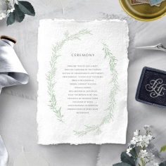 Minimalist Wreath order of service ceremony stationery invite card design