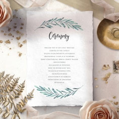 Modern Garland wedding stationery order of service invite
