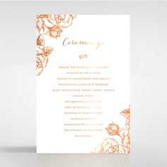 Rose Romance Letterpress with foil order of service stationery card