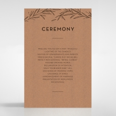 Rustic Oriental order of service invitation card design