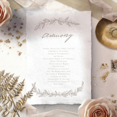 Simple Charm wedding order of service ceremony card design