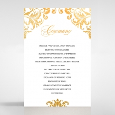 Victorian Extravagance with Foil order of service wedding card