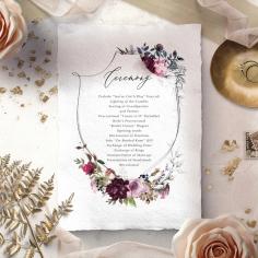 Watercolor Rose Garden wedding order of service ceremony invite card