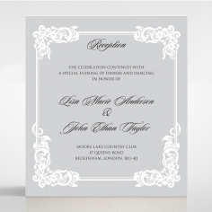 Black Divine Damask reception enclosure invite card