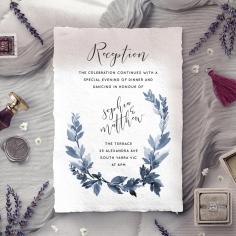 Blue Forest wedding reception card design