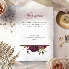 Burgandy Rose reception wedding invite card design
