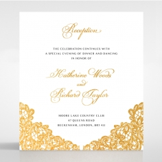 Charming Lace Frame with Foil reception stationery invite card design