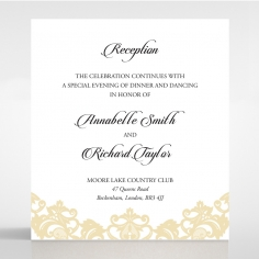 Golden Baroque Pocket reception wedding card design