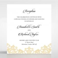 Golden Baroque Pocket reception wedding card design